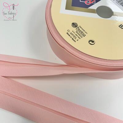 25 metres reel of Pale Pink Plain Polycotton Bias Binding 30mm