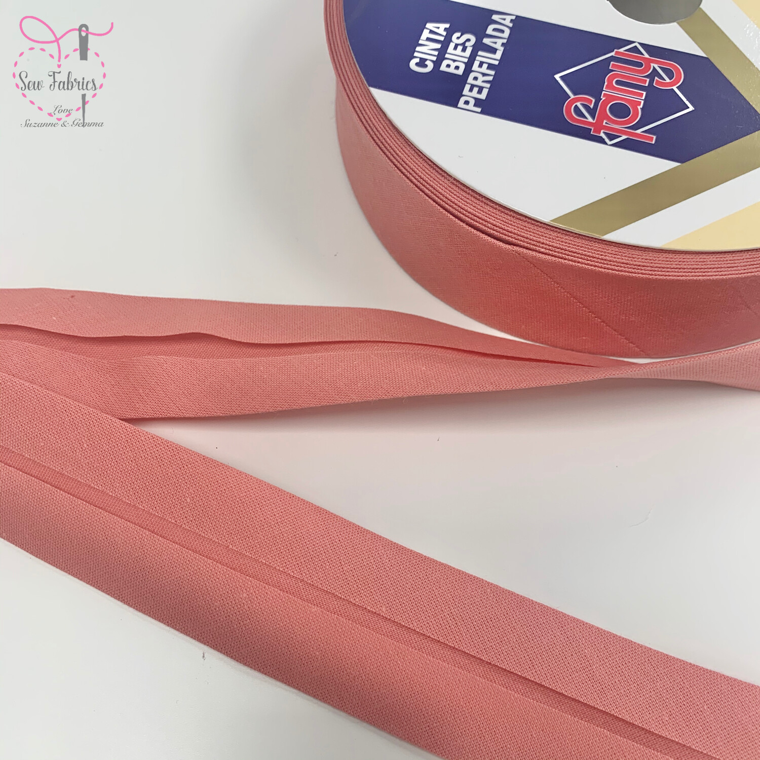 25 metres reel of Carnation Pink Plain Polycotton Bias Binding 30mm