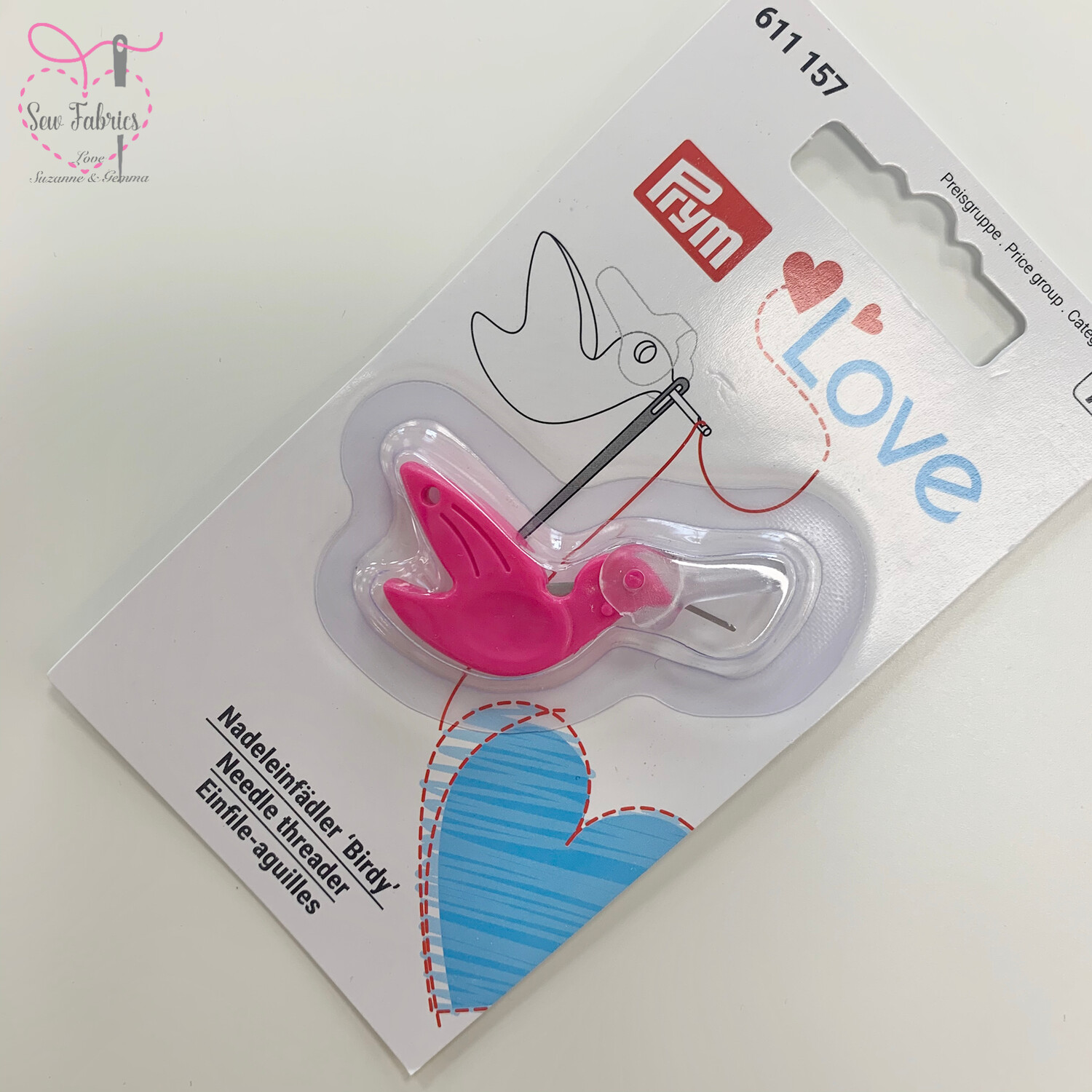 Prym Love 'Birdy' Needle Threader, Sewing, Dressmaking, Quilting Accessory, Pink