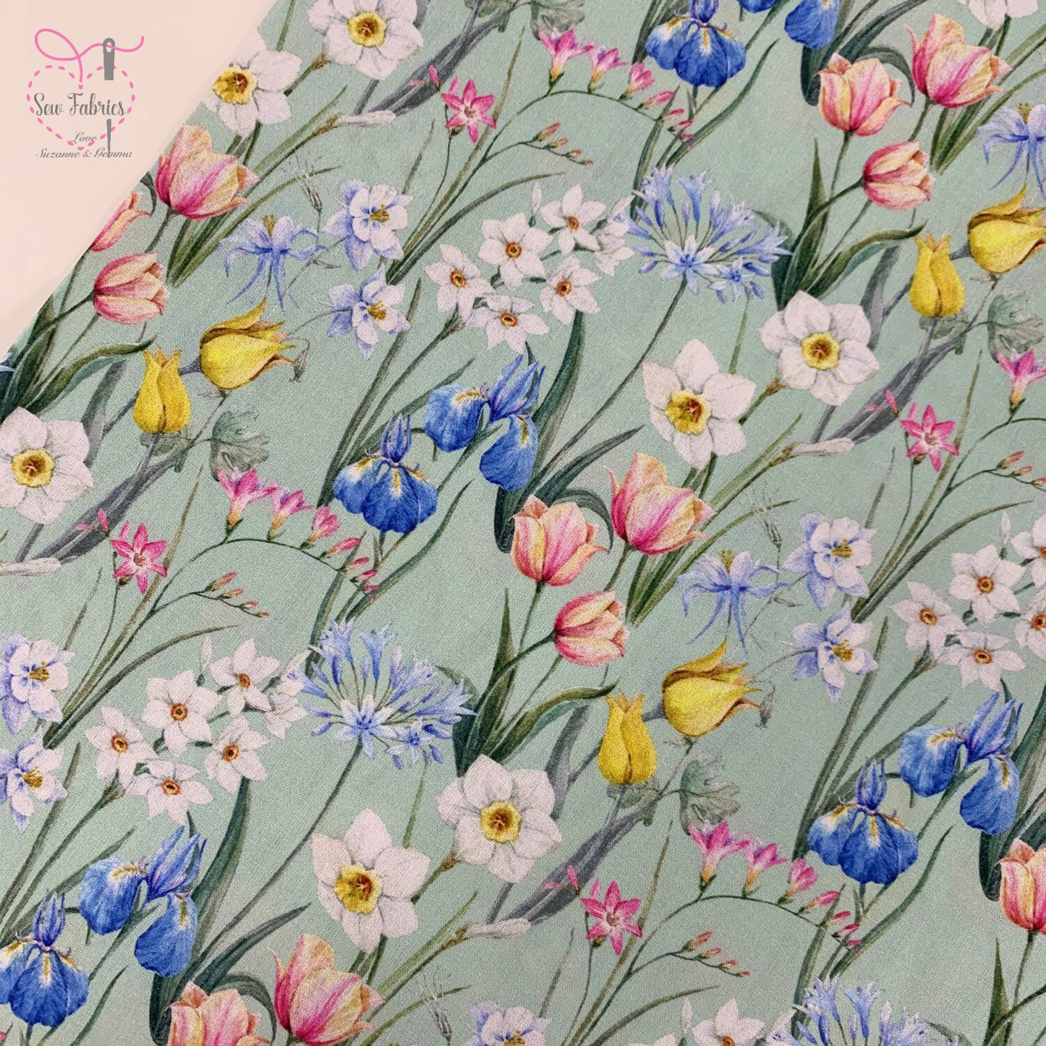 "John Louden Bloom in Spring Floral Fabric 100% Cotton 60""/150cm Width, Material"