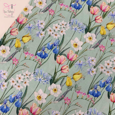 John Louden Bloom in Spring Floral Fabric 100% Cotton 60