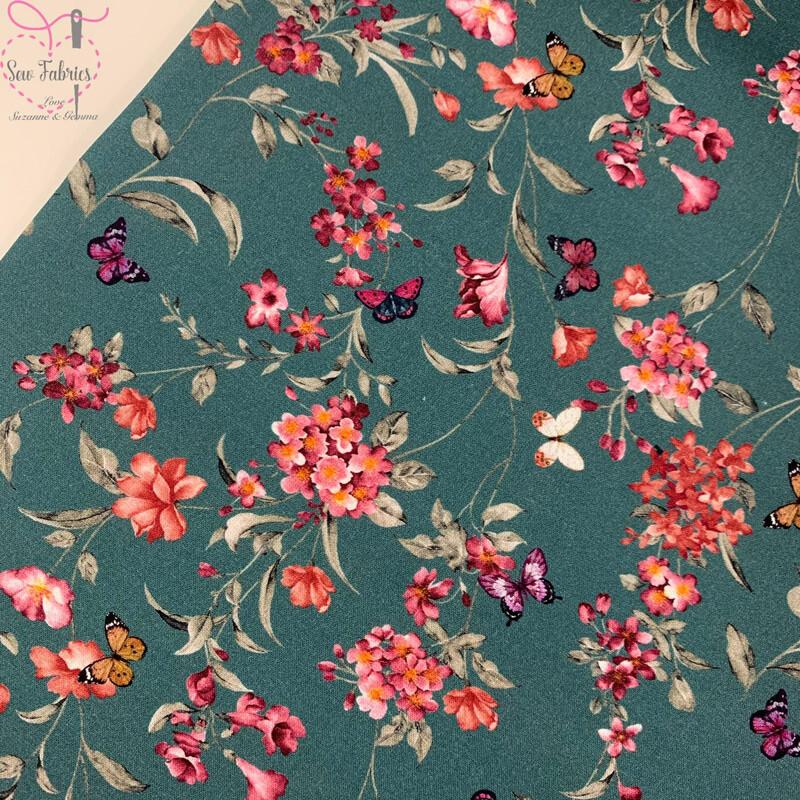 John Louden Teal Floral Butterflies Fabric 100% Cotton 60