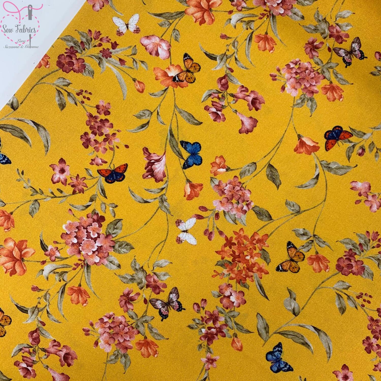 """John Louden Ochre Floral Butterflies Fabric 100% Cotton 60""""/150cm Width, Yellow Mustard Material"""