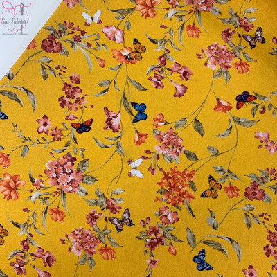 John Louden Ochre Floral Butterflies Fabric 100% Cotton 60