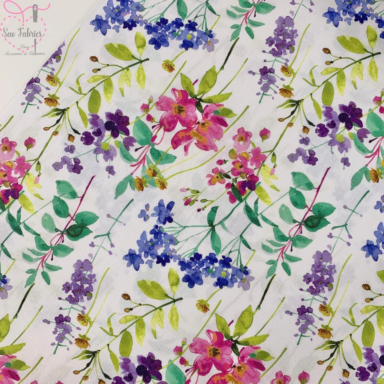 "John Louden Spring Garden Floral Fabric 100% Cotton 60""/150cm Width, Nature Material"
