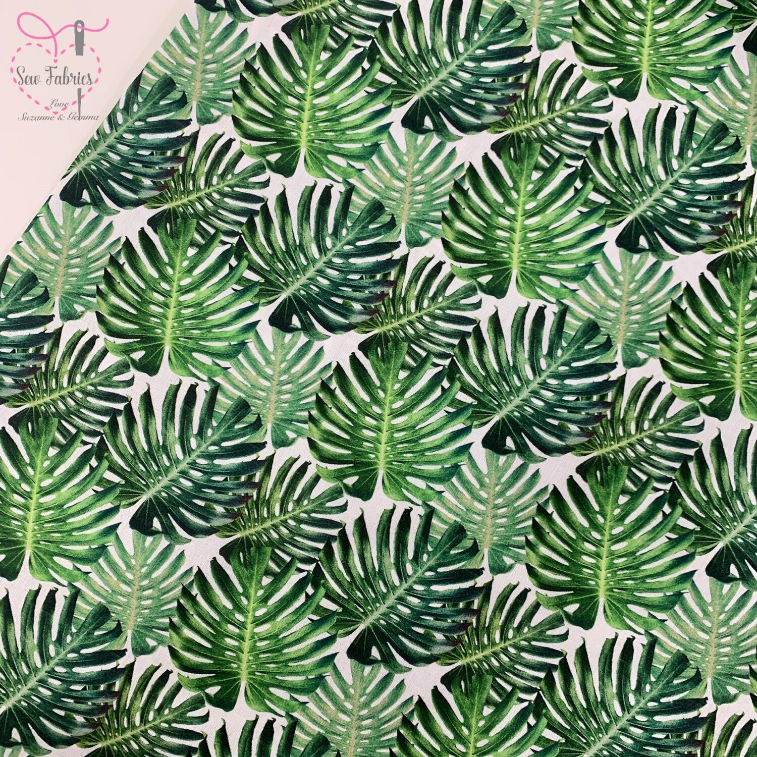 "John Louden Green Tropical Palm Leaf Floral Fabric 100% Cotton 60""/150cm Width, Boho Nature Material"