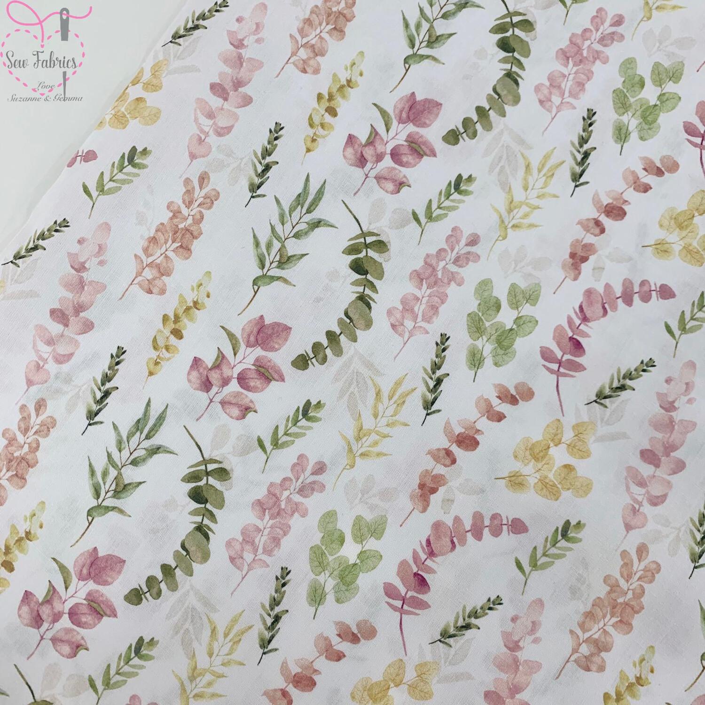 """John Louden Pink Eucalyptus Fabric 100% Cotton 60""""/150cm Width, Nature Material"""