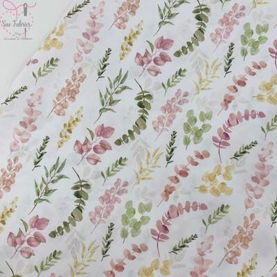 John Louden Pink Eucalyptus Fabric 100% Cotton 60