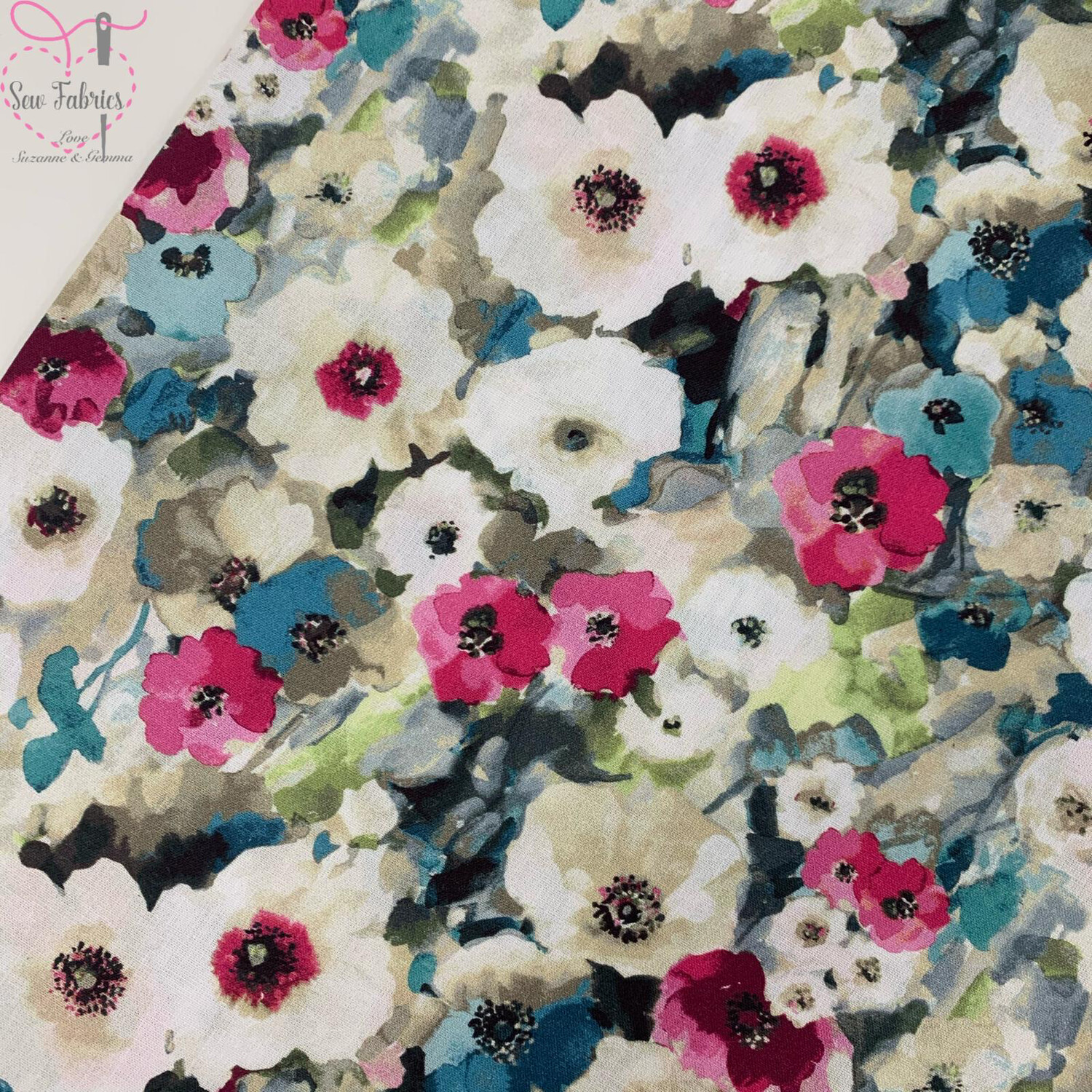 "John Louden Pink Watercolour Poppies Fabric 100% Cotton 60""/150cm Width, Nature Poppy Material"
