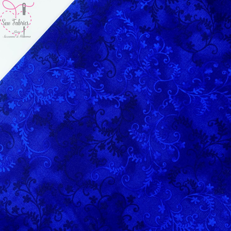 John Louden Navy Blue Mystic Vine 100% Cotton Floral Fabric Dark Blue Material