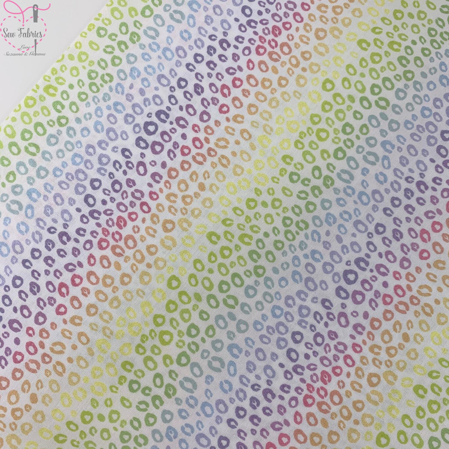 "Pastel Rainbow Leopard Print Digital Cotton Design, The Little Johnny Collection Fabric 100% Cotton 59"" Wide Width"