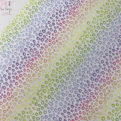 Pastel Rainbow Leopard Print Digital Cotton Design, The Little Johnny Collection Fabric 100% Cotton 59