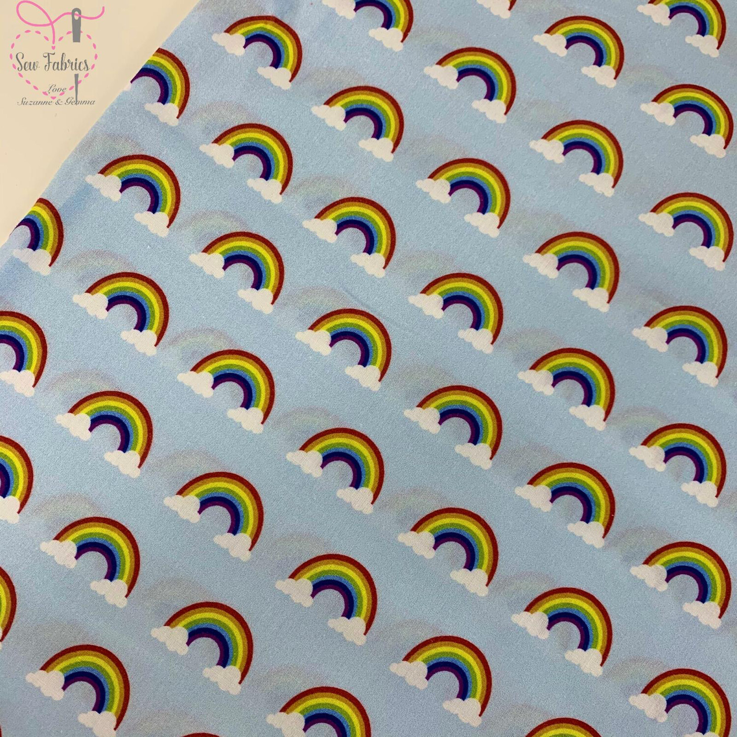 "Baby Blue Rainbow Clouds Digital Cotton Design, The Little Johnny Collection Fabric 100% Cotton 59"" Wide Width"