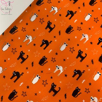 Orange Cats Halloween Print Polycotton Fabric, Novelty Craft Bunting Material