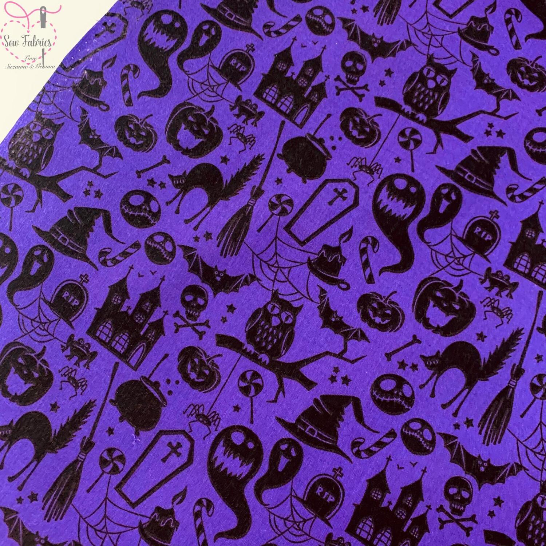 Purple Pumpkin Ghost Halloween Print Polycotton Fabric, Novelty Craft Bunting Material