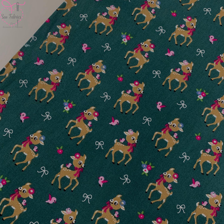 Khaki Green Cute Reindeer Christmas Print, 100% Cotton Poplin, 150cms Wide Width