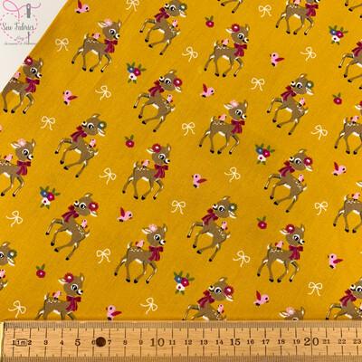 Ochre Mustard Yellow Cute Reindeer Christmas Print, 100% Cotton Poplin, 150cms Wide Width