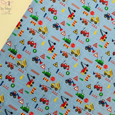 Baby Blue Children's Vehicle Print, 100% Cotton Poplin, 150cms Wide Width