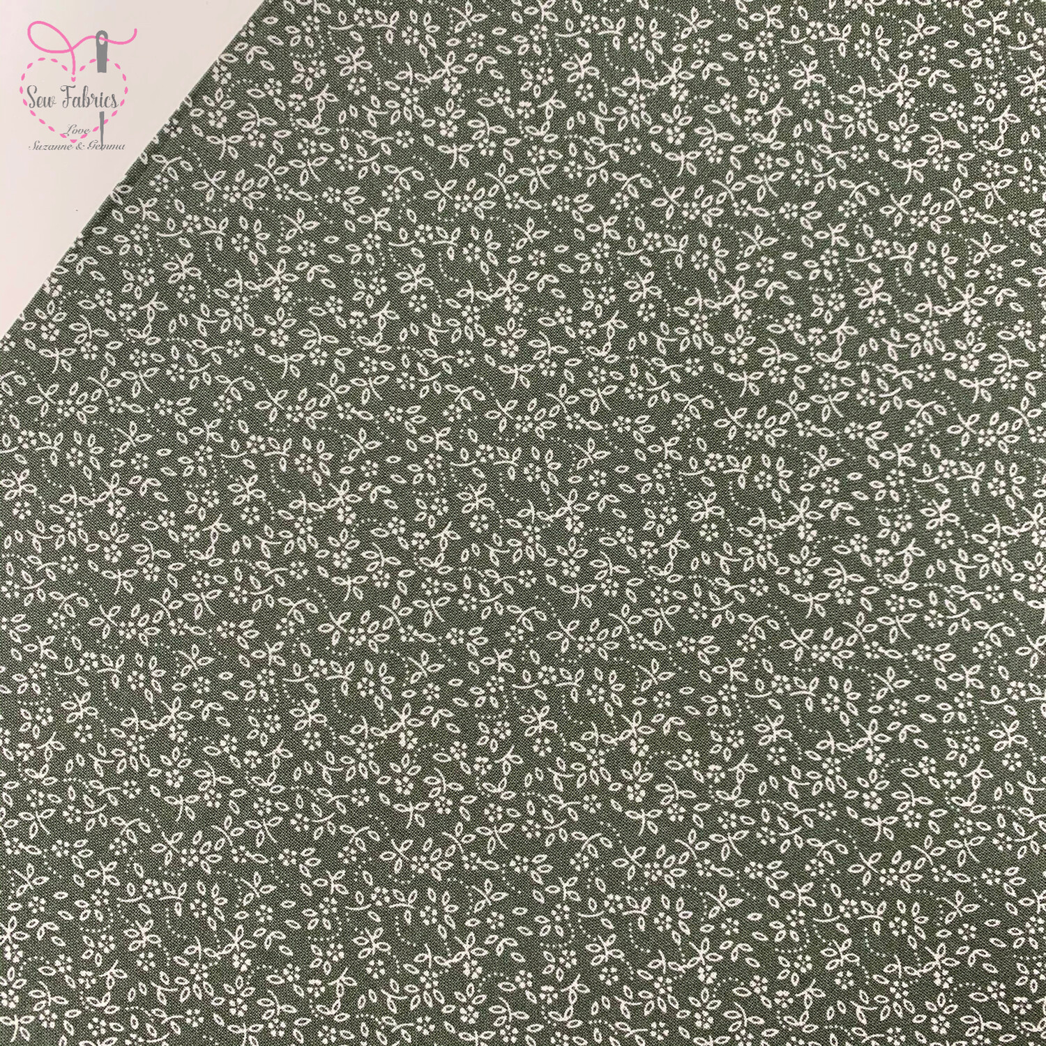 Sage Fern Green 100% Craft Cotton Ditsy Daisy Fabric