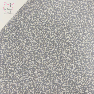 Storm Grey, 100% Craft Cotton Ditsy Daisy Fabric