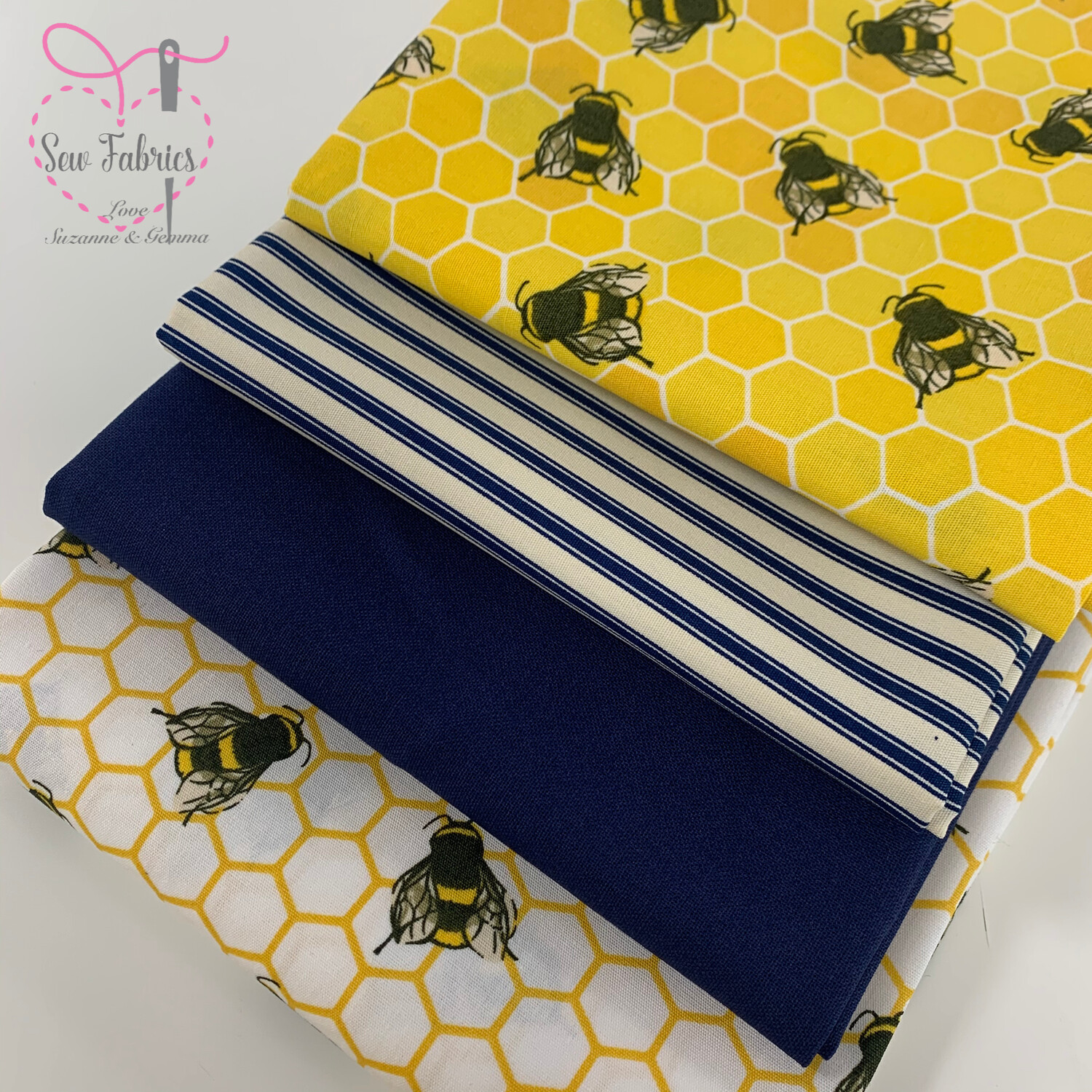 100% Cotton Poplin Fabric Yellow Navy Bees and Stripe 4 x Fat Quarter Bundle, Spring Summer Quilting, Crafting, Novelty Bee