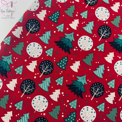 Red Christmas Tree Fabric 100% Cotton 135cm Width,  Festive Xmas Material