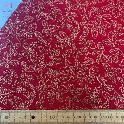 John Louden Red Metallic Holly Christmas Print Fabric, 100% Cotton, Festive Novelty Material