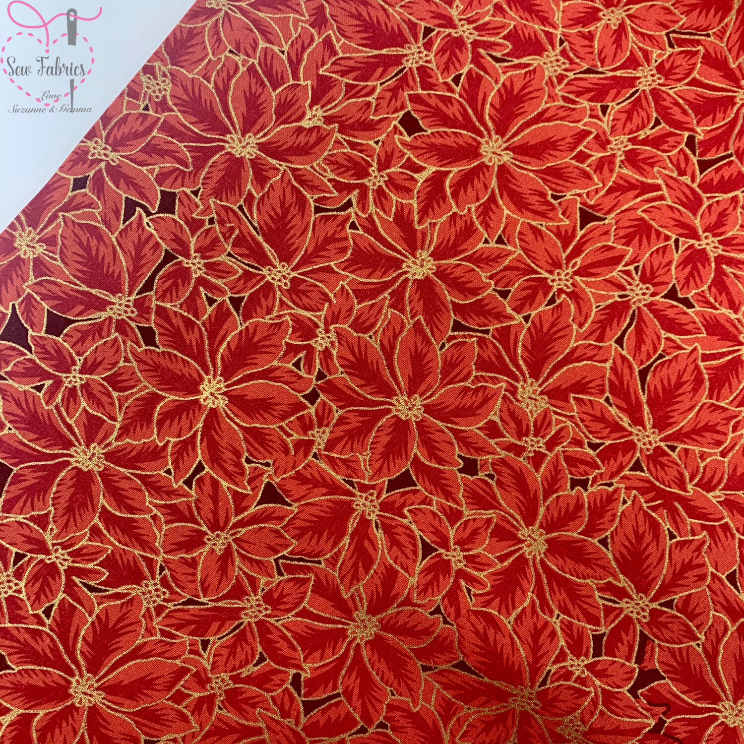 John Louden Red Poinsetta Christmas Print Fabric, 100% Cotton, Festive Novelty Material