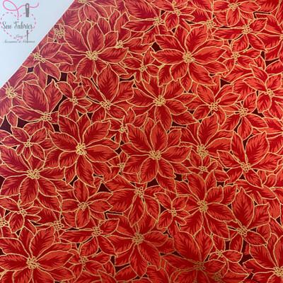 John Louden Red Poinsetta Christmas Print Fabric, 100% Cotton, Festive Novelty Material
