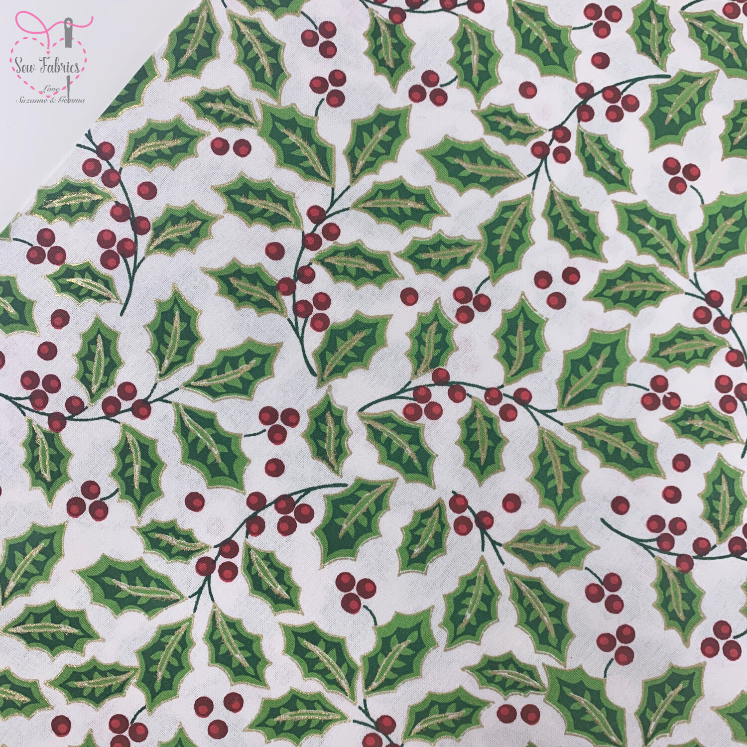 John Louden White Large Holly Christmas Print Fabric, 100% Cotton, Festive Novelty Material