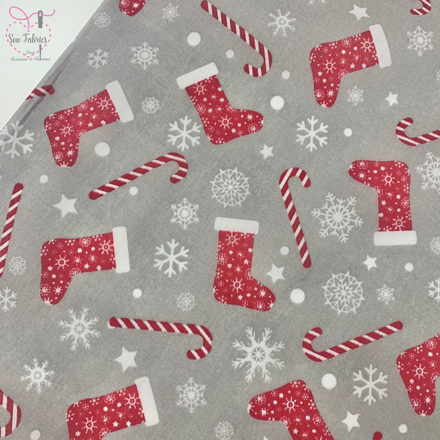 Silver Candy Cane and Christmas Stocking Christmas Print Polycotton Fabric, Novelty Festive Xmas Material