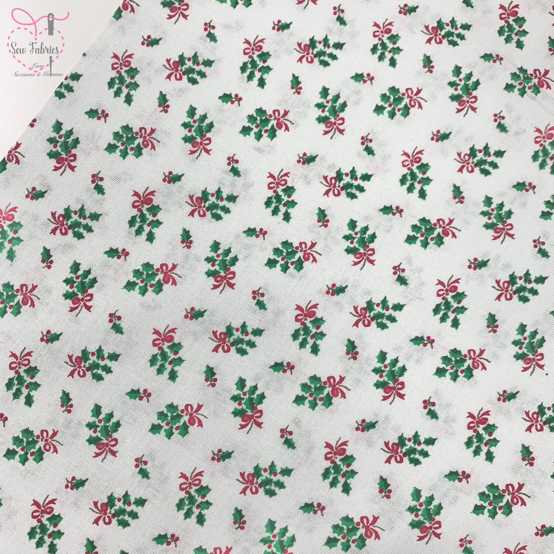 John Louden White Holly Scandi Christmas Print Fabric, 100% Cotton, Festive Novelty Material
