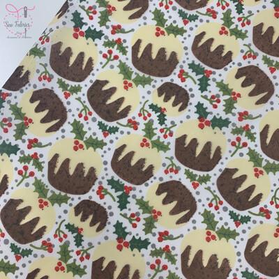 White Christmas Pudding Print Polycotton Fabric, Novelty Festive Xmas Material