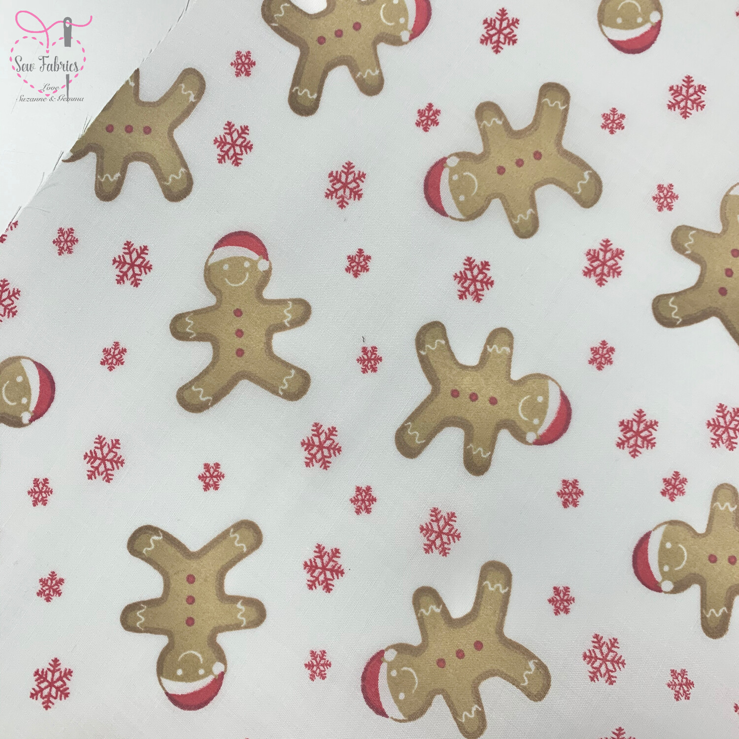 White Santa Gingerbread Man Christmas Print Polycotton Fabric, Novelty Festive Xmas Material