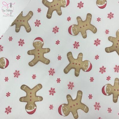 White Santa Gingerbread Man Christmas Print Polycotton Fabric, Novelty Festive Xmas Material