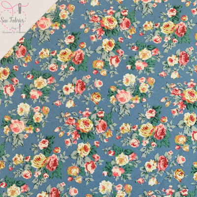 Rose and Hubble Copen Bunch of Peonies Floral Fabric Blue Vintage Floral 100% Cotton Poplin Flower Material Sewing