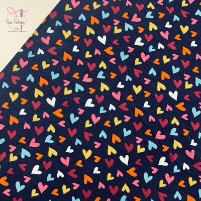 Navy Blue Hearts Printed Cotton Elastane Tricot Jersey Fabric, Dress, Children's