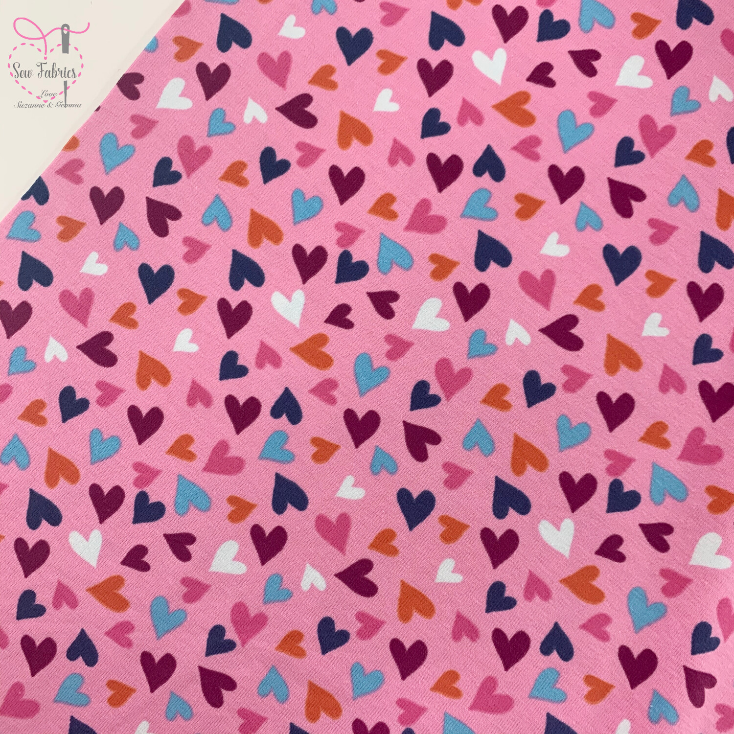 Light Pink Hearts Printed Cotton Elastane Tricot Jersey Fabric, Dress, Children's