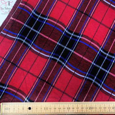 Red Tartan Jersey Fabric