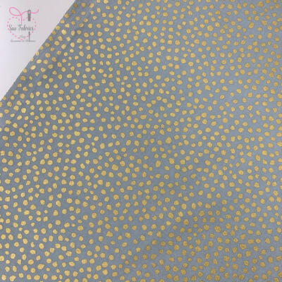Grey Christmas Scattered Spots with Gold Spot Print, 100% Cotton Silver Festive Material