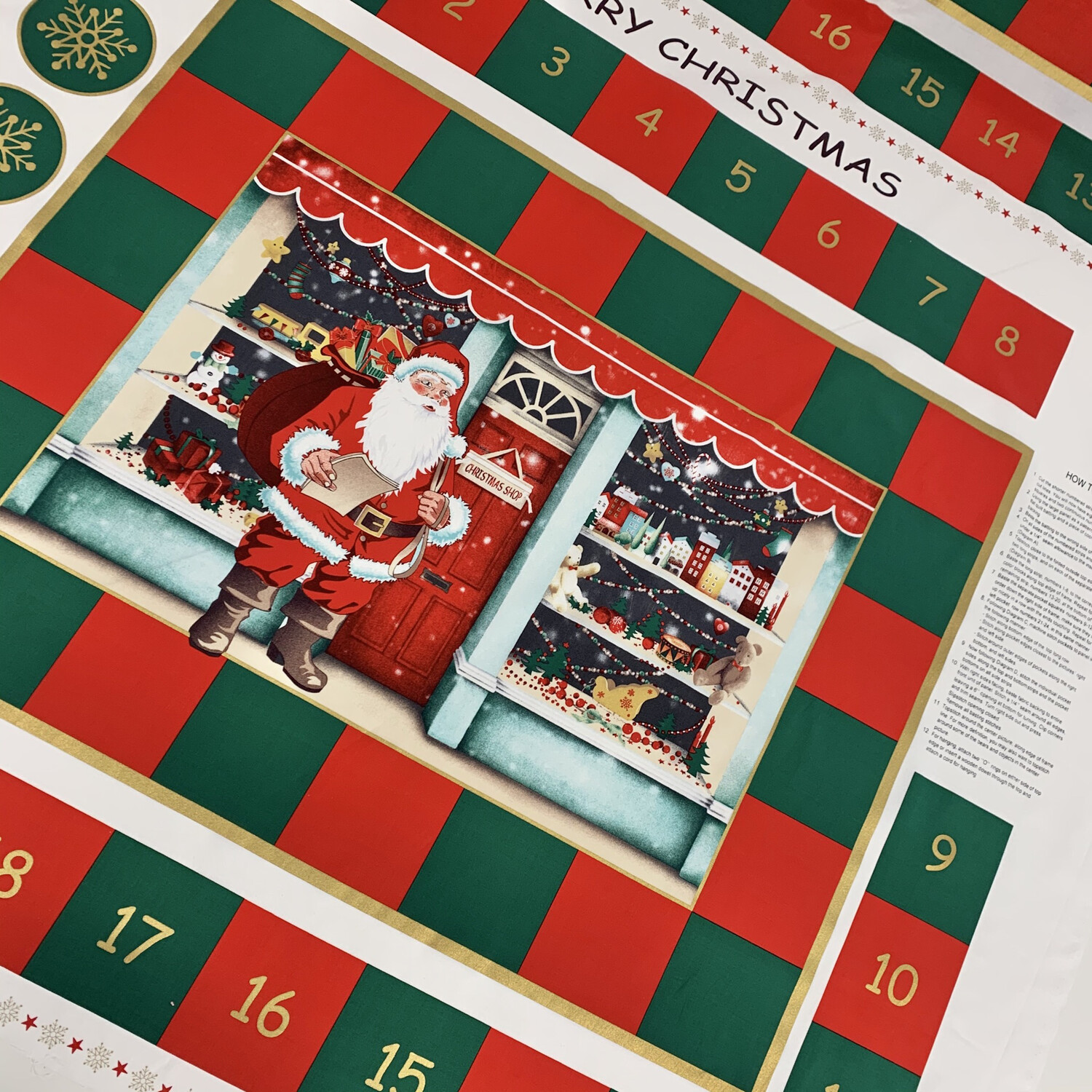 Red and Green Christmas Toy Shop Advent Calendar Pockets, 100% Cotton Poplin, Festive Fabric Panel