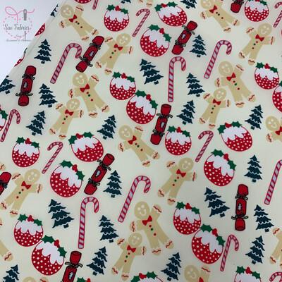 Cream Christmas Pudding Gingerbread Print Polycotton Fabric, Novelty Festive Xmas Cracker, Candy Cane Material