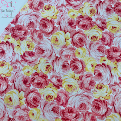 Michael Miller Country Cottage Collection - Garden Roses - Peach Pink, 100% Cotton Fabric, Dressmaking, Quilting, Home Soft Furnishings Floral Material