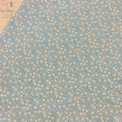 Michael Miller Country Cottage Collection - Sweet Nothings - Blue, 100% Cotton Fabric, Dressmaking, Quilting, Home Soft Furnishings Floral Material