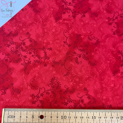 John Louden Red Mystic Vine 100% Cotton Floral Fabric Material