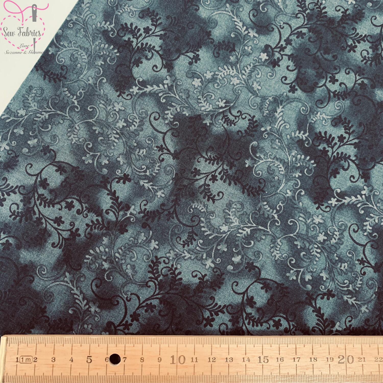 John Louden Black Mystic Vine 100% Cotton Floral Fabric Material