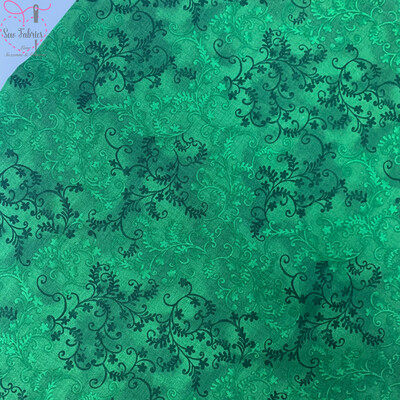 John Louden Olive Green Mystic Vine 100% Cotton Floral Fabric Material