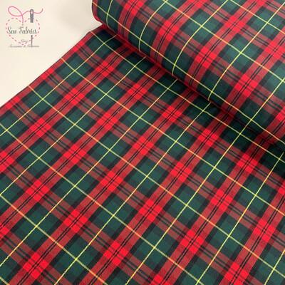 Margaret Rose Tartan Fabric, Polyester/Viscose Red Material