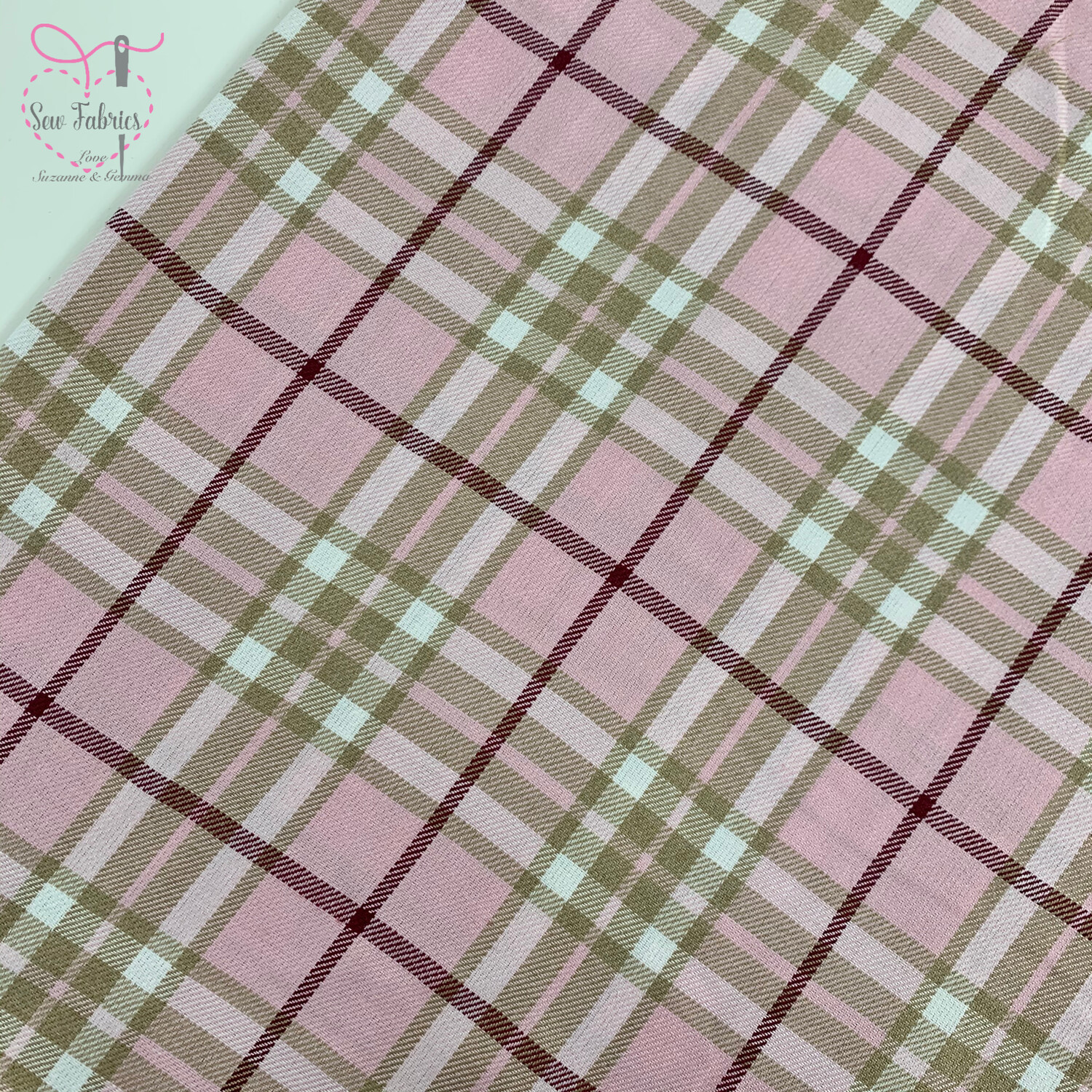 Pink Beige Tartan Fabric, Polyester/Viscose Pink Material