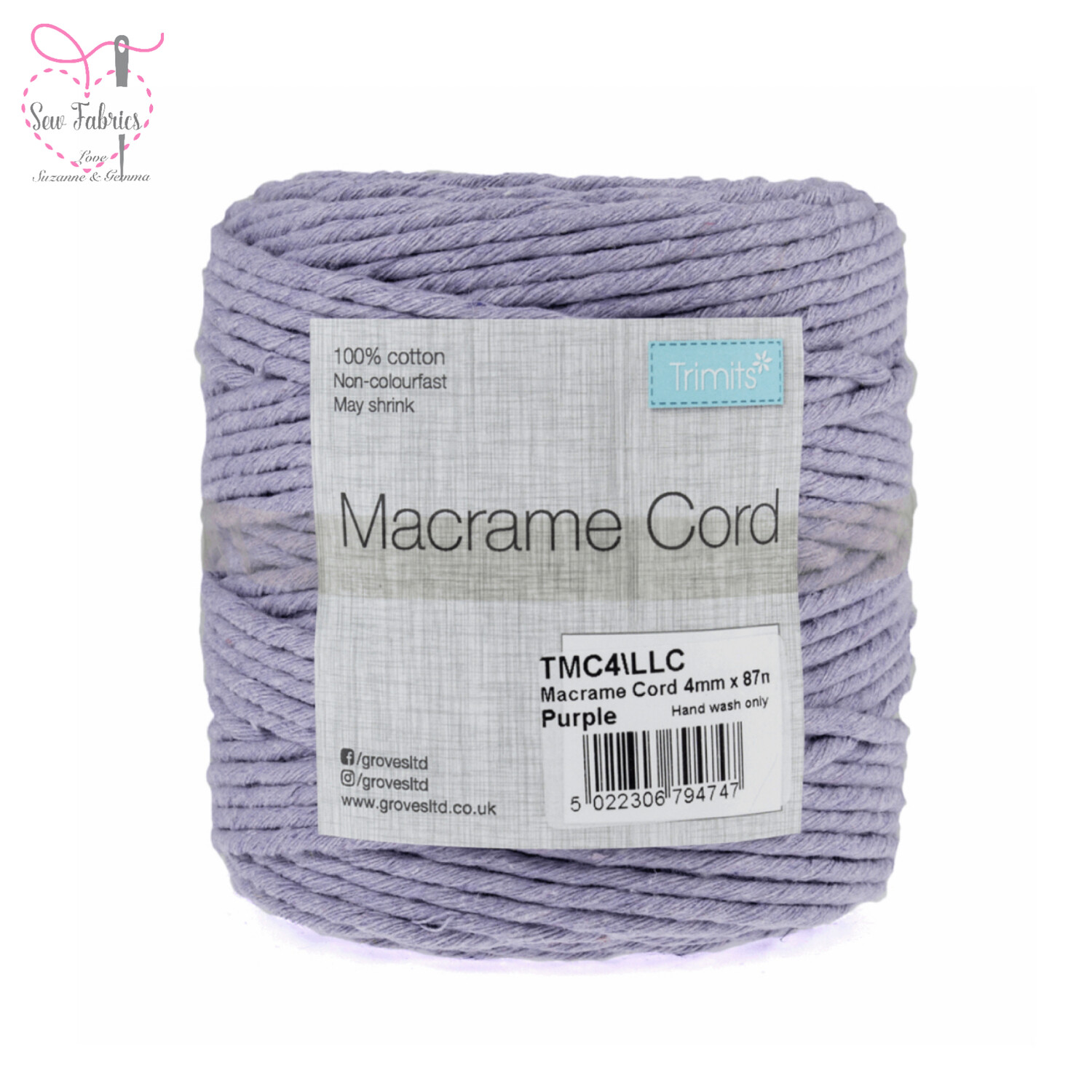 4mm Lilac Trimits Macrame Cord, 100% Cotton, String, Craft, Made in UK, 87m Spool
